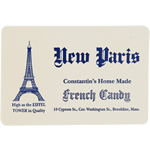 Blue on white paper round corner rectangle New Paris cheap label