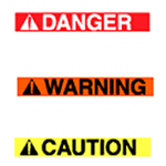 Red danger, orange warning, and yellow caution warning labels