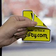 Yellow and black ink on white square zifty.com double-sided custom window decal on window