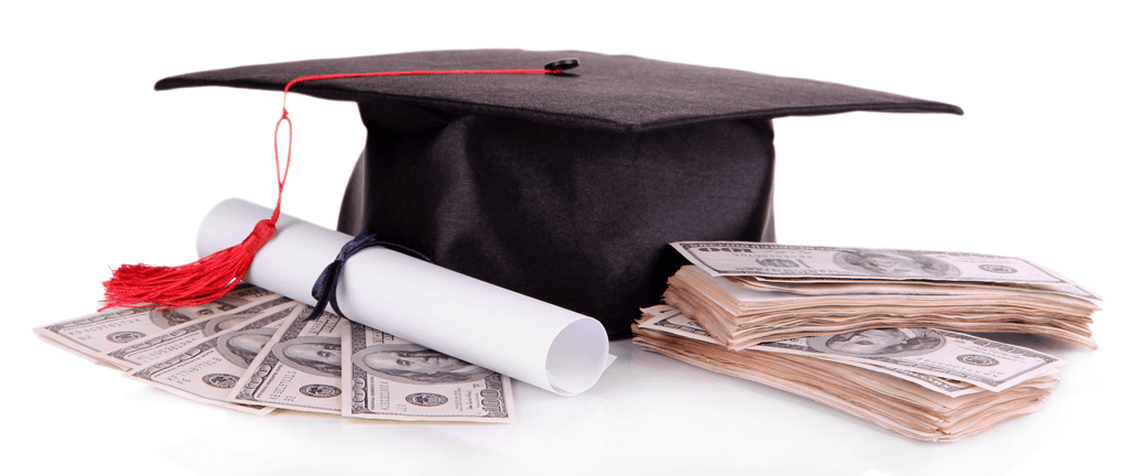 Scholarship image depicting oxford cap next to rolled up diploma and stacks of money